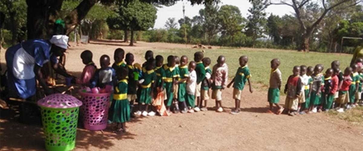 Children partaking in trial blended porridge formula